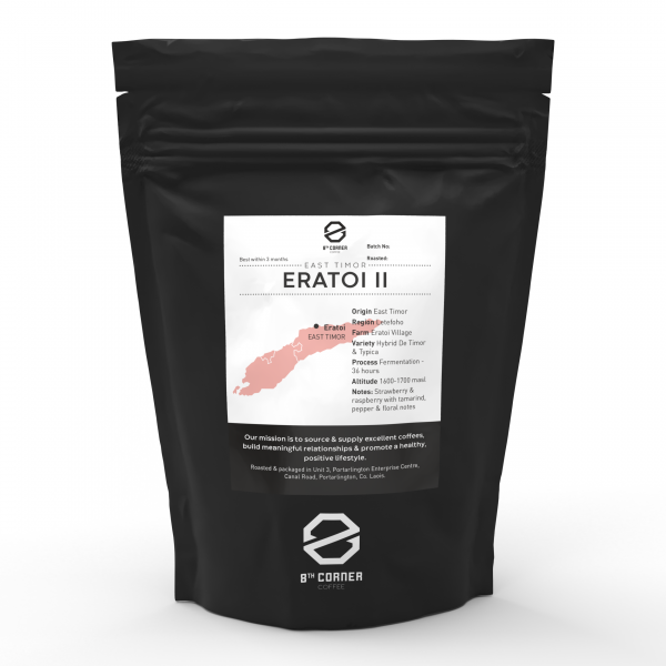 A 250g black bag of retail coffee with our East Timor single origin, Eratoi II