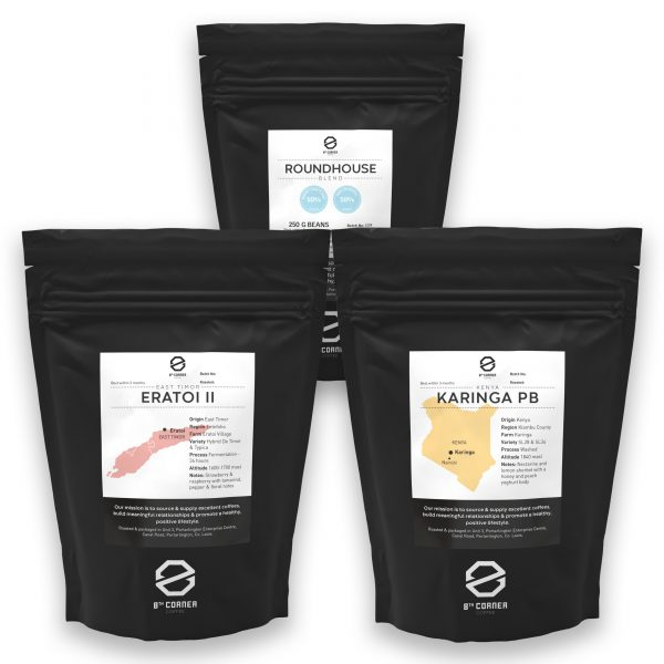Trio of retail coffee beans in 250g bags