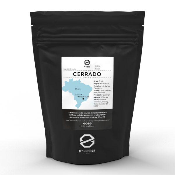 A bag of Cerrado Decaf coffee from Brazil